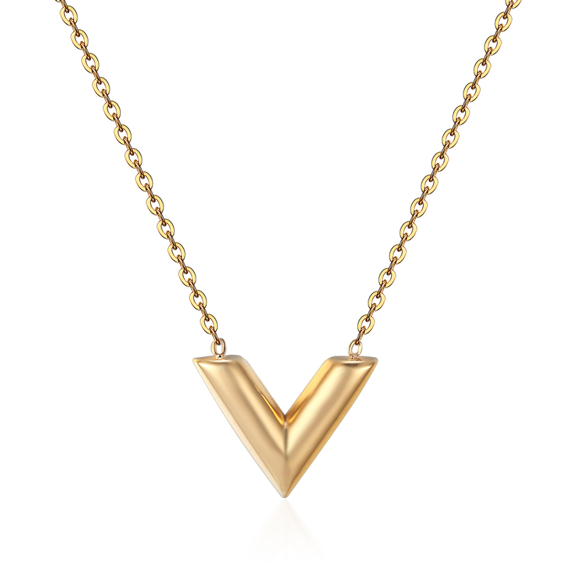 Classic Design Famous Brand V Letter Pendant Necklace For Woman Titanium Steel Woman Necklace Luxury Jewelry Female Top Quality
