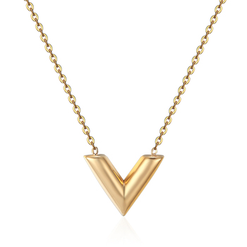 Classic Design Famous Brand V Letter Pendant Necklace For Woman Titanium Steel Woman Necklace Luxury Jewelry Female Top Quality Apparels Fashion Jewellery Necklaces Women