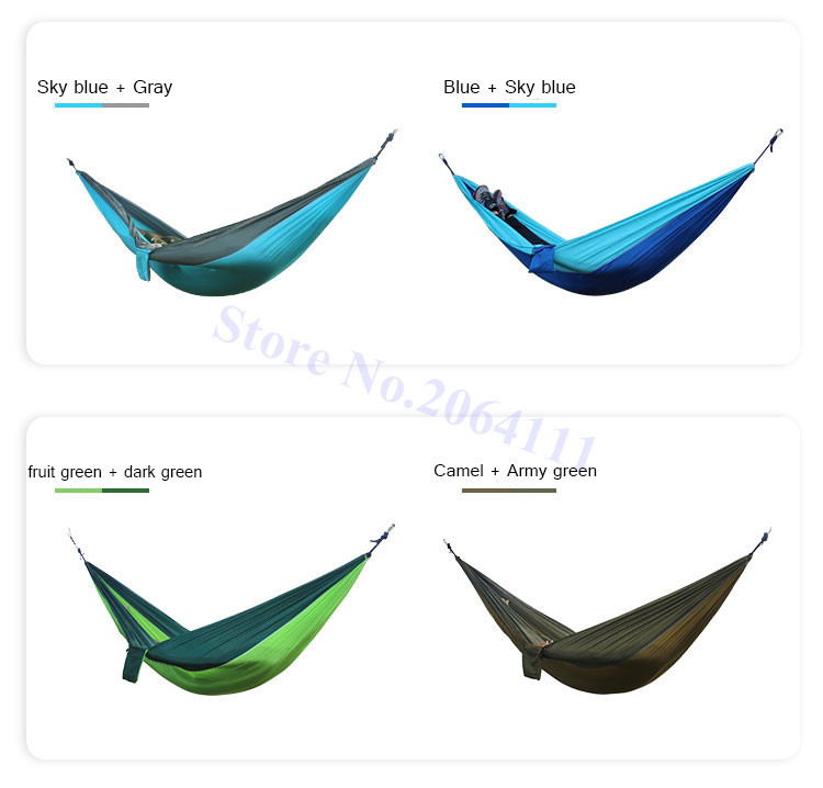 Outdoor double Hammock Portable Parachute Cloth 2 Person hamaca hamak rede Garden hanging chair sleeping travel swing hamac 4