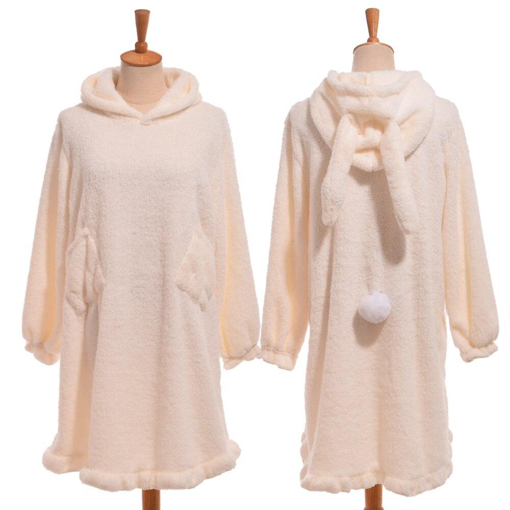 1pc Girls Cute Fleece Nightdress Bear/Rabbit Pattern Hooded Winter Warm Sleepwear