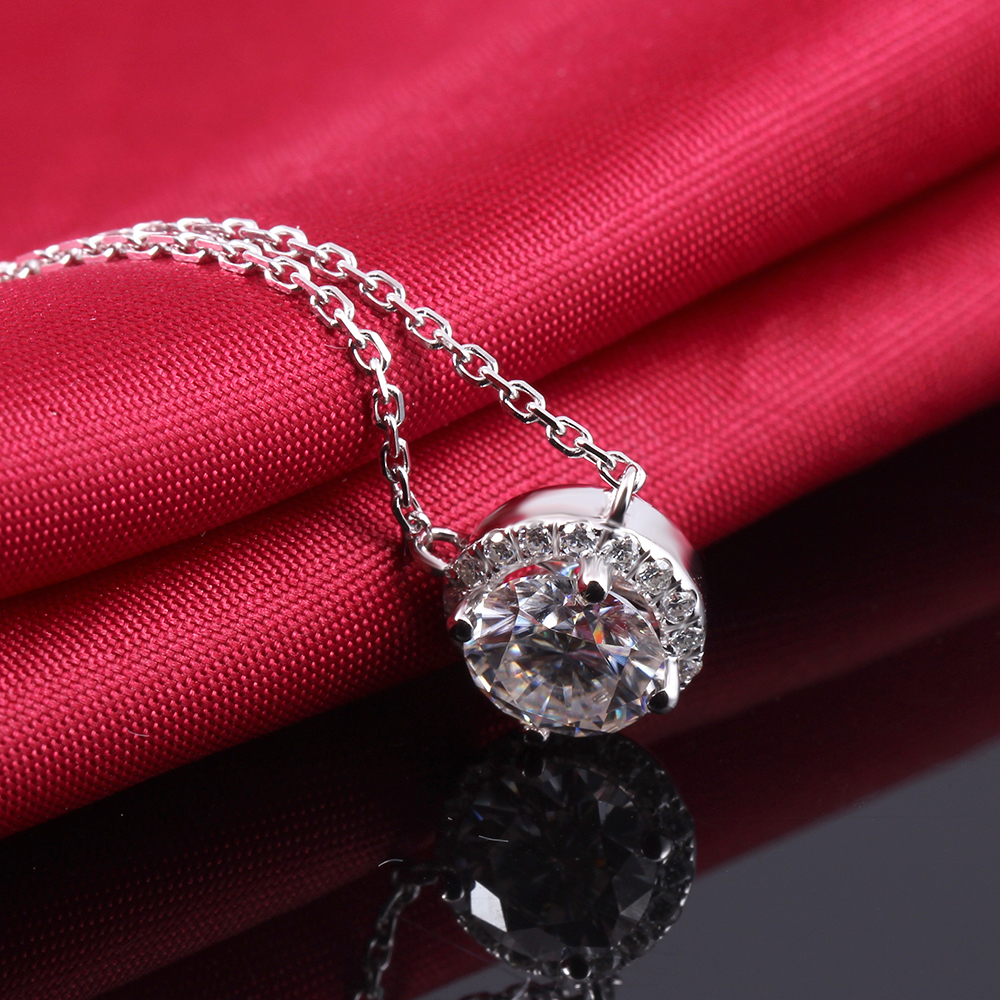 DiscountìTransgems Pendant Necklace Moissanite 18inch-Chain Diamond 14K Gold White Women Solid