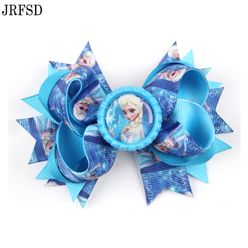JRFSD 10 Colors Hair Clip Headband Princess Elsa Anna Ribbon With Alligator Kids Hair Bands Hair Accessories for Girls H020
