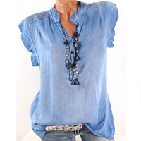 Plus Size 5XL Women Tops And Blouse Solid Sleeveless V Neck Loose Casual Summer Top Blouses