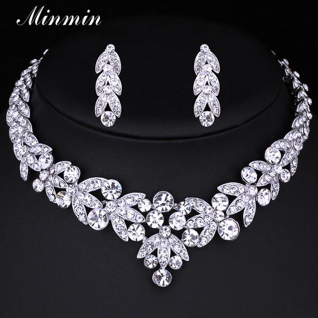 Minmin Pequena Folha Conjuntos de Jóias para As Mulheres Acessórios De Noiva Brincos De Cristal Colar de Casamento Africano Beads Jewelry Sets TL206
