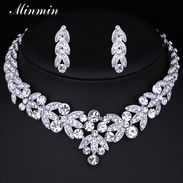 Minmin Small Leaf  Wedding Jewelry Sets for Women Bridal Accessories Crystal Necklace Earrings African Beads Jewelry Sets TL206