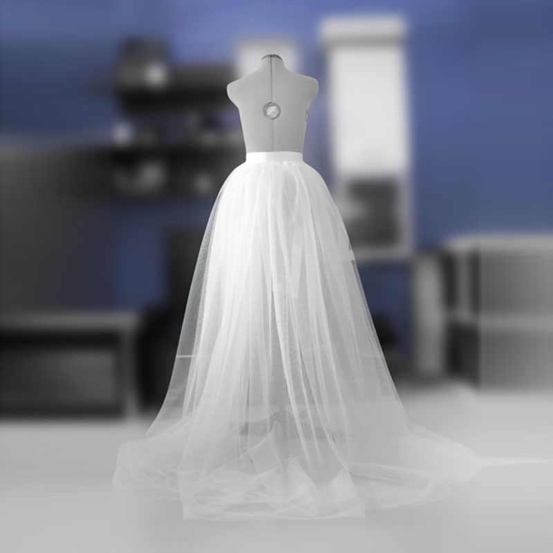 Overskirt טול להסרה Overskirt לבן כלה לחתונה מקסי ארוך חצאית עם סאטן רצועת כלים Saias נהיגה לראשונה חצאית Faldas Mujer