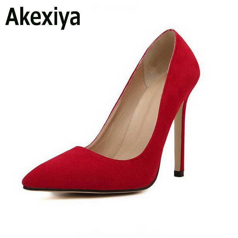 Size 35-43 Women Pumps 2017 Sexy High Heels Pointed Toe Party Shoes Woman Wedding Office Pumps Red Green Zapato Mujer Pluse size apoepo brand 2017 zapatos mujer black and red shoes women peep toe pumps sexy high heels shoes women s platform pumps size 43