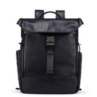 14 genuine leather man bags really cowhide backpacks fashion solid double shoulder bag mochila escolar school Laptop bag black