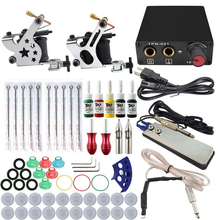Complete tattoo kit 2 guns machines 5 ink sets power supply disposable needle Cord Kit Body
