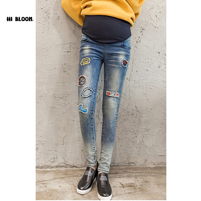 Maternity Fashion Hole Embroidery Jeans Autumn Winter Plus Size Cotton Pregnant Clothing Denim Pants Autumn Large Jeans Trouses