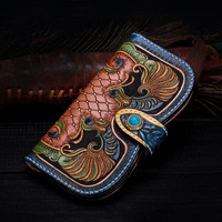 Hand Engraving Genuine Leather Wallets Carving Floral Bag Purses Women Clutch Vegetable Tanned Leather Flowers Wallet