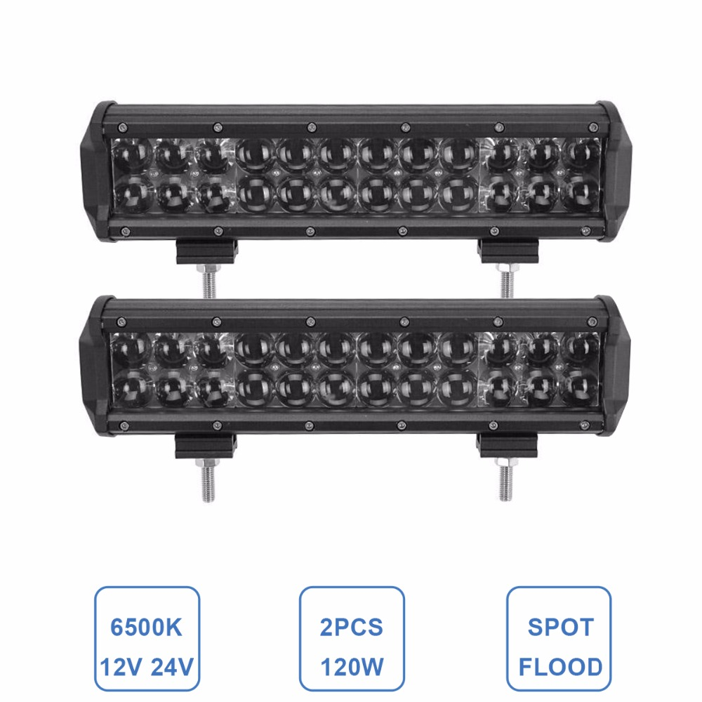 2pcs 12'' 120W Offroad LED Driving Light Bar Combo 12V 24V ATV Auto SUV Boat Truck Trailer UTE Wagon Pickup 4x4 Camper Headlight 32 300w curved led bar combo offroad driving light atv suv 4x4 truck trailer camper tractor pickup wagon utv 4wd off road lamp