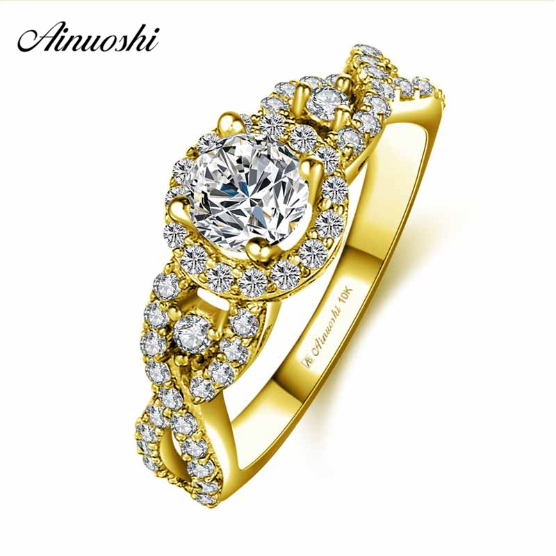 AINUOSHI 10k Solid Yellow Gold Halo Ring Female Wedding Engagement Jewelry 0.5ct Round Cut SONA Diamond Weaving Ring Bridal Band