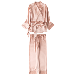 Image 5 - SuyaDream Women Silk Pajama Sets 100%REAL SILK SATIN Robes and Pants 2020 New Spring Sleepwear Pink