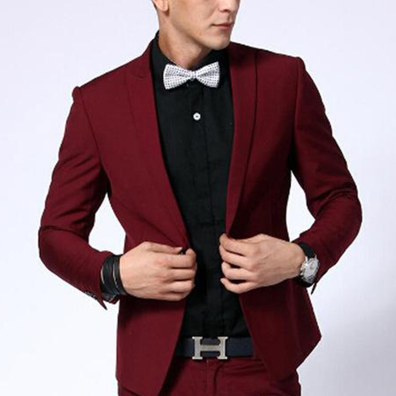 Two Piece Dark Red Slim Fit Men Suits Peaked Lapel Blazer Wedding Groom Tuxedos New Fashion Male Clothes Jacket Pants