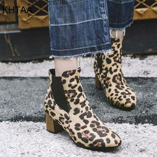 Cộng với Kích Thước Nền Tảng Phụ Nữ Chelsea Boots Med Gót Màu Đen Đàn Hồi Ban Nhạc Nữ Mắt Cá Chân Khởi Động Bầy Leopard Sexy Phụ Nữ Châu Âu Giày