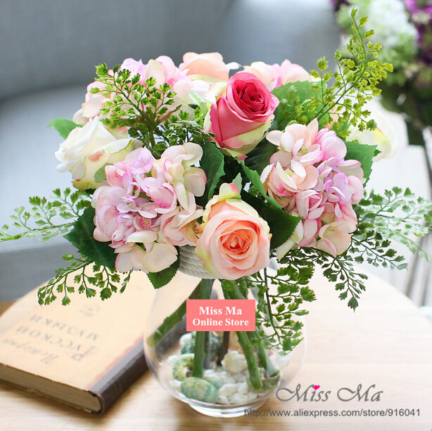 Pink european style diy flower set hydrangea rose table for Small flower decorations for tables