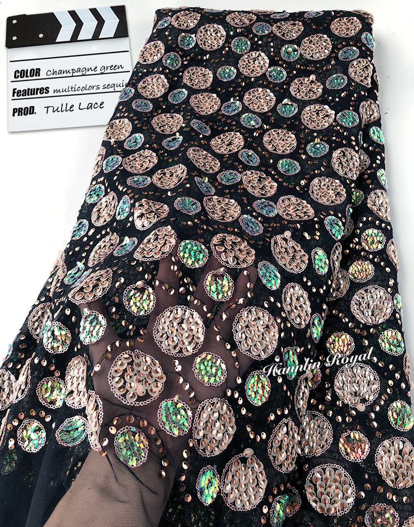 5 yards paillettes multicolores brillant mariée française dentelle exclusive africaine tulle dentelle tissu nigéria buba couture tissu pour aso ebi