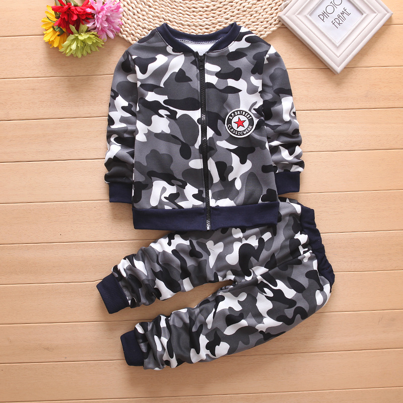 2 winter Kids Clothes Camouflage Thicker Baby Boys Clothing Set Toddler Boy Clothing Boutique Children Kids girls Costume suit