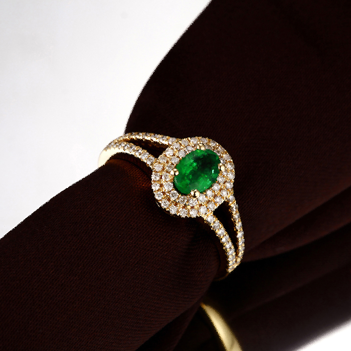 wear emerald green ring junxin rings amazon com daily stone stones zirconia black round slp cubic cz gold