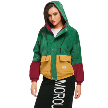 ZAFUL Hit Color Block Hooded Collar Women Jacket Zip Up Loose Corduroy Jacket Snap Button Patchwork Slim Jacket