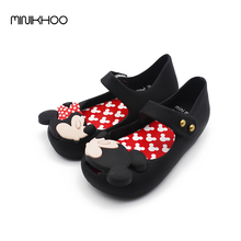 2016 Mini Melissa Original Girls Sandals Shoes Mickey Minnie  Sandals Children'S Jelly Sandals Lovely Baby Sandals High Quality