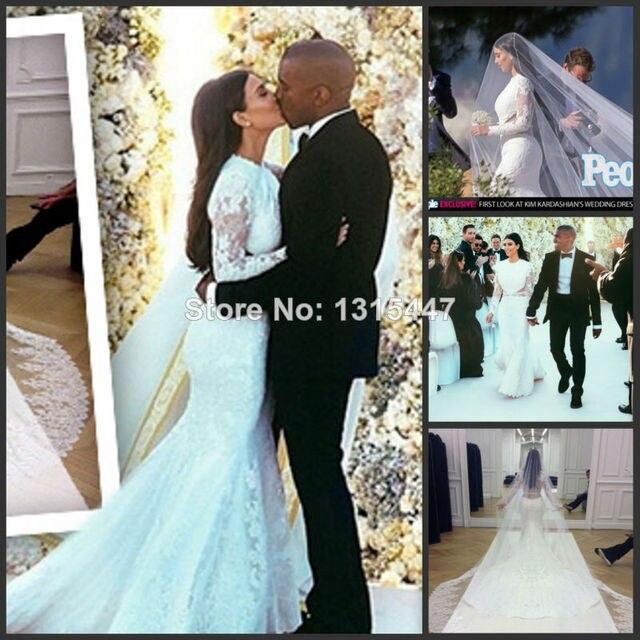 764ce3fa14f4 White Vintage Lace Wedding Dress Luxury Mermaid Long Sleeved Bridal Gown  Royal Train Veil Vestido Casamento 2014