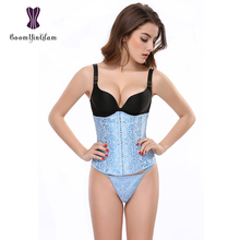 2833# free shipping light blue jacquard spiral steel boned and plastic boned corset slimming waist corset sizeS-2XL