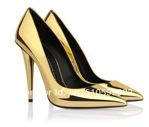 Aliexpress.com : Buy Design gold pumps golden mirror patent