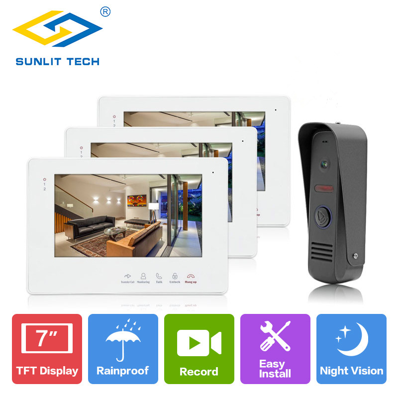 Video Door Phone Intercom Entry Access System Wired 7 inch Color Home Door Phone Video Intercoms Indoor Monitor With Recording 7 inch password id card video door phone home access control system wired video intercome door bell