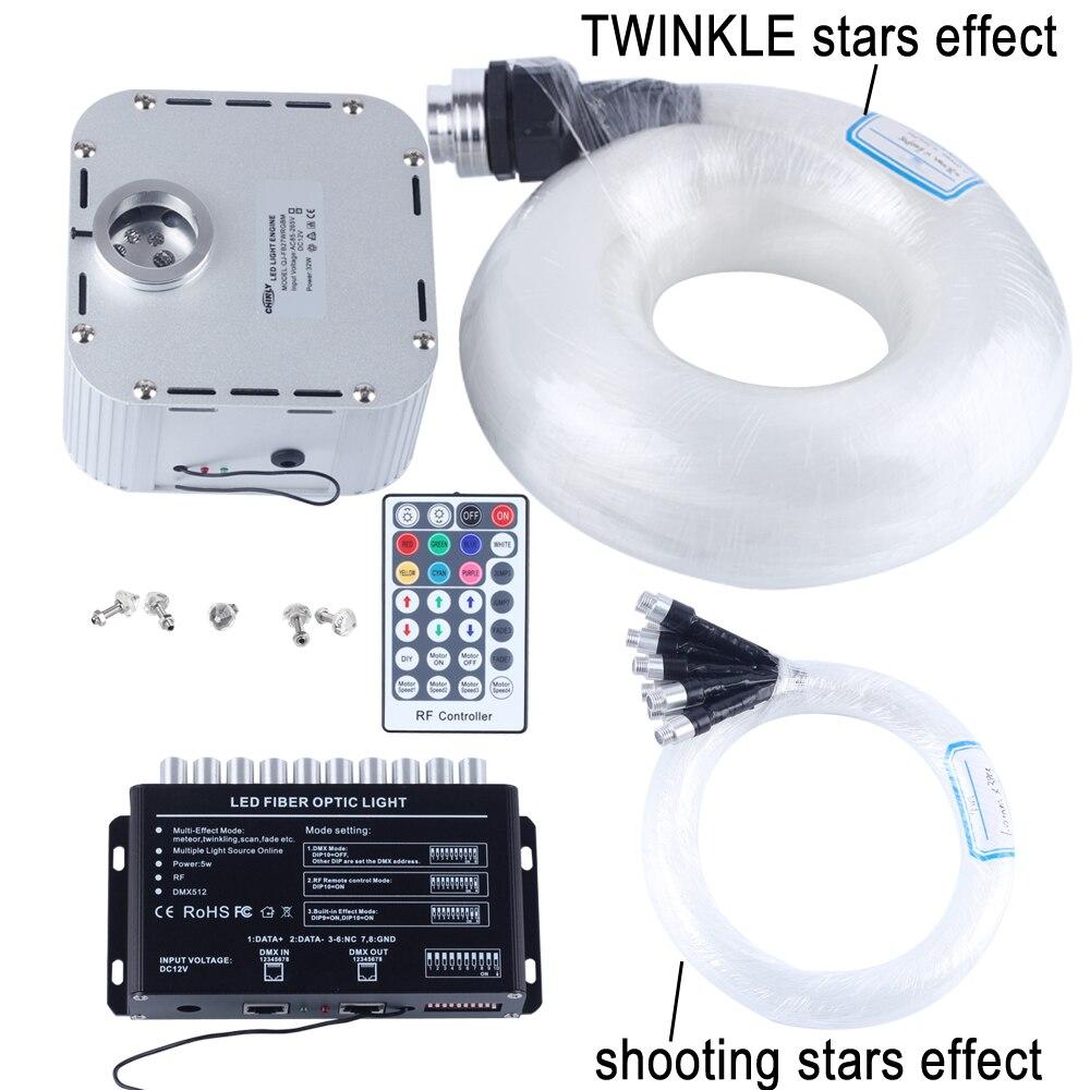 32 W RGB 28key RF distance SCINTILLEMENT LED Fiber Optique Étoiles Kit de Lumière Au Plafond (400 pcs 0.75 + 1 + 1.5 + 2.0mm 5 M) + tir étoiles effet