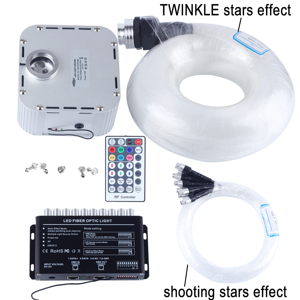 32W RGB 28key RF remote TWINKLE LED Fiber Optic Star Ceiling Light Kit (400pcs 0.75+1+1.5+2.0mm 5M)+shooting stars effect optic fiber light kit 32w twinkle starry sky ceiling light 32w rgb ir for decoration project floor light underwater lighting