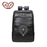 New Men S Shoulder Bag Solid Color PU Leather Backpack Europe And The United States Waterproof