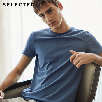 SELECTED summer new cotton round neck casual solid color men's short-sleeved T-shirt S|4182T4547 Men T-Shirts