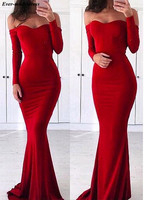 Long Sleeves Red Evening Dresses Mermaid 2019 Off Shoulder Sweep Train Zipper Back Elegant Prom Party Gowns Robe de soiree