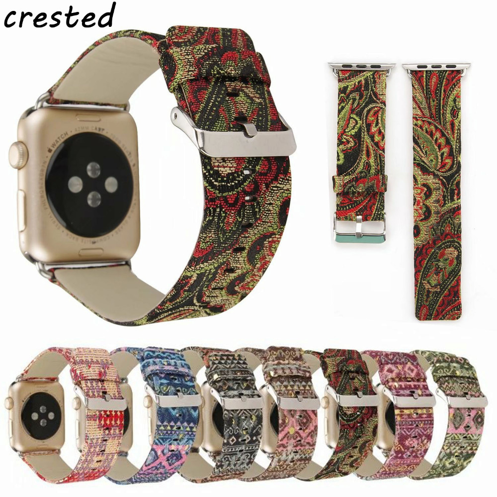 CRESTED leather watch strap for apple watch band 42mm 38mm national wind wrist strap stainless steel connecter for iwatch band crested leather loop band for apple watch 42mm 38mm