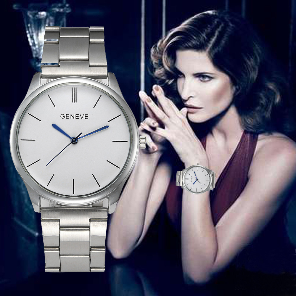 Relogio Feminino Silver Watch Women Watches Geneva Famous Brands Stainless Steel Strap Analog Female Clock