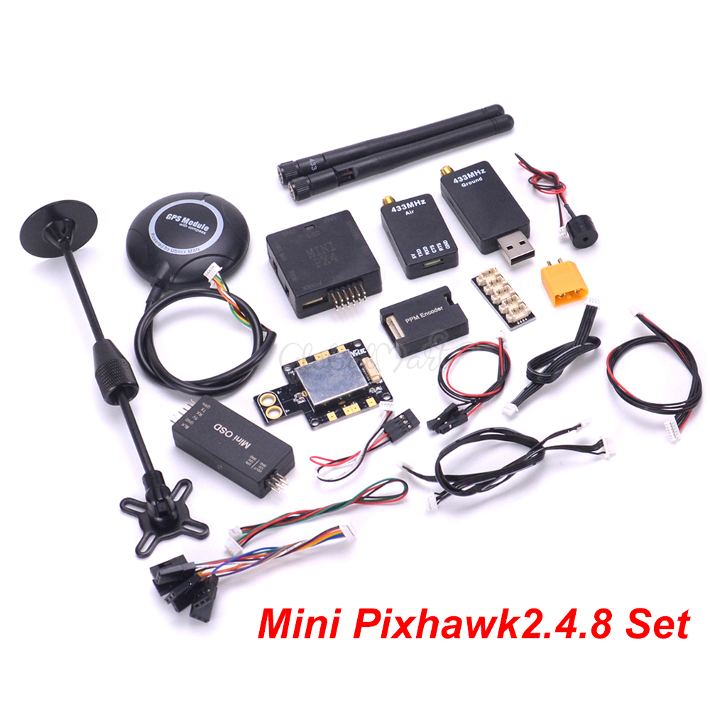 Mini Pixhawk PX4 PIX 2.4.8 Autopilot Pixhawk2.4.8 32 Bit Flight Controller M8N GPS 433Mhz 915Mhz Telemetry Power Module I2C PPM