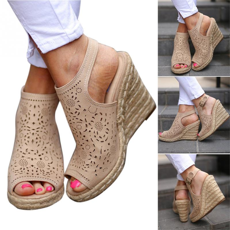 Summer Sandals Shoes Woman Hollowed Out Woman Shoes PU Leather Buckle Strap Fish Mouth Dating Wedge Heel SandalSummer Sandals Shoes Woman Hollowed Out Woman Shoes PU Leather Buckle Strap Fish Mouth Dating Wedge Heel Sandal