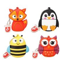 cartoon cute penguin owl fox pendrive pen drive 4GB 8GB 16GB USB flash 32GB 64GB memoria stick 128gb animal free shipping