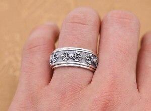Image 2 - Handmade 925 Silver Tibetan Dorje Ring Vintage Thai Silver Buddhist Vajra Symbol Ring Sterling Spinning Ring GOOD LUCK
