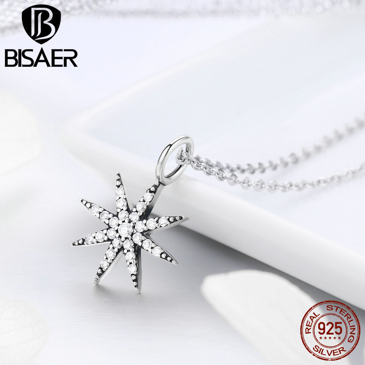 BISAER Authentic 925 Sterling Silver Sparkling Luminous CZ Snowflake Pendant Necklaces Women Fine Jewelry Brincos S925 GXN204
