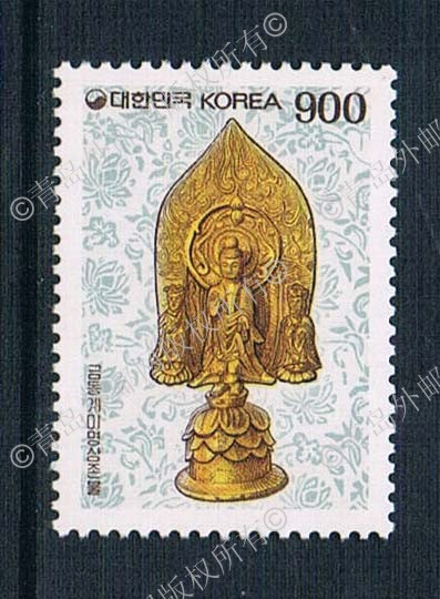 1993 Korea KR1188 three gilded copper Buddha Guanyin ordinary 1 stamps 0428 ds 11 china bronze gilded guanyin bodhisattva comfortable kwan yin buddha statue