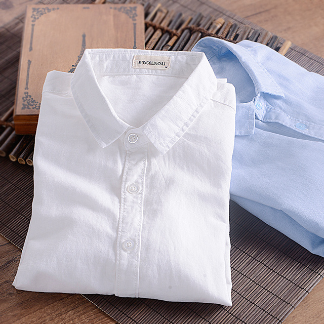 2016 Spring And Autumn Men's Clothing Male Fashion White Linen Shirt Long-sleeve Slim Fit Shirt Plus Size Fluid Casual Clothing