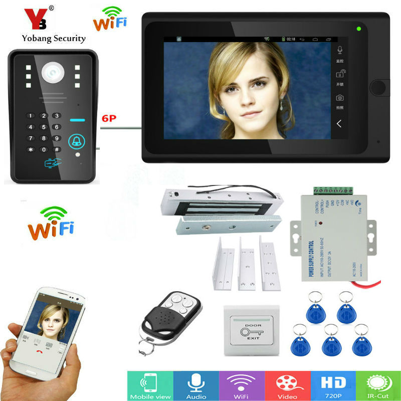"Yobang Security 7"" TFT Wired / Wireless Wifi RFID Password Video Door Phone Doorbell Video intercom System with Electric Lock