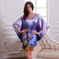 2015 Blue Purple Butterfly Sleeves Female Nightgown Printed,Large Size Graceful Ladies's Silk Nightdress,Women Silk Nightwear