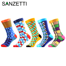 SANZETTI 5 Pairs/Lot Mens Colorful Casual Combed Cotton Happy Crew Socks Street Skateboard Hip Hop Novelty Plaid Dress