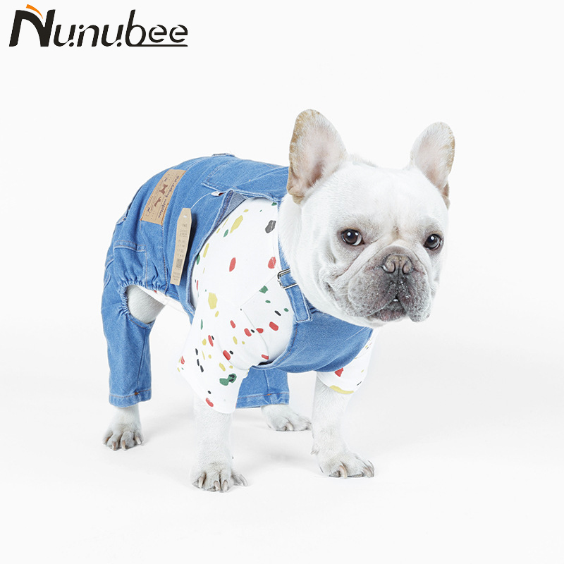 Nunubee Cowboy Dog Clothes Rompers French Bulldog Blue Dog Coat Pet