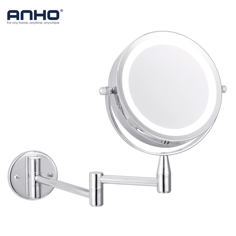 ANHO Bath Led Mirror 6 Inch 1X/5X Magnification Wall Mounted Adjustable Makeup Mirror Dual Arm Extend 2-Face Cosmetic Mirror new fashion 6 inches led bathroom mirror dual arm extend 2 face metal makeup mirror 5x magnifying wall mounted extending folding