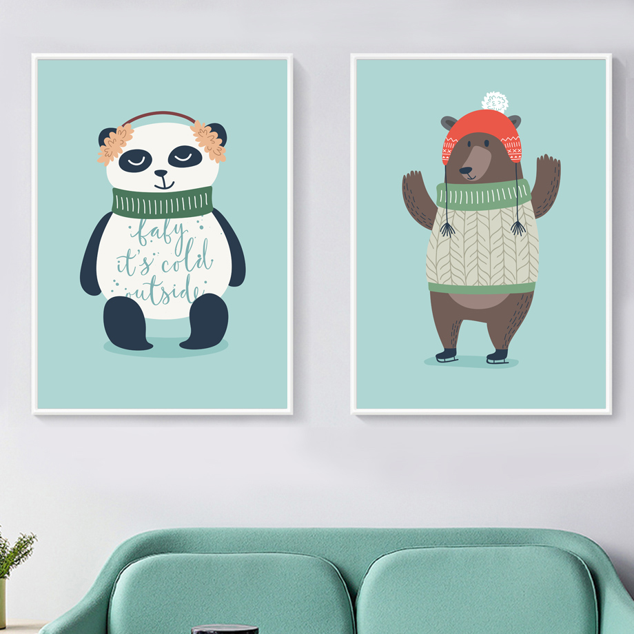 Cute Bear Panda Fox Rabbit Owl Animals Nordic Posters And Prints Wall Art Canvas Painting Nursery Wall Pictures Kids Room Decor in Painting Calligraphy from Home Garden